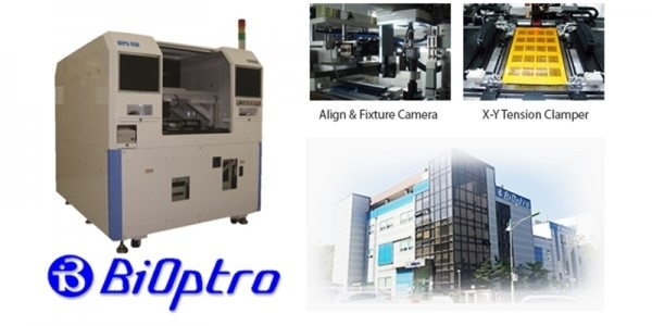 Electrical inspection equipment (BBT) for a printed circuit board (PCB) of BiOptro and company's picture.