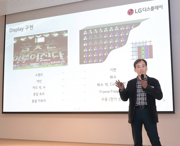 LG Display's chief technology officer, Kang In-jin, vice president of Display Technology, is presenting at the Display Technology Briefing Session held on 27th.