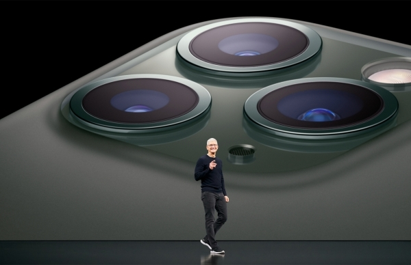 Apple CEO Tim Cook introducing the iPhone 11 series