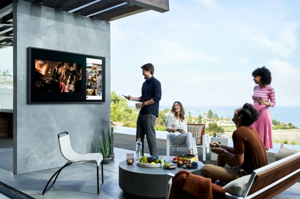 Outdoor TV model the Terrace is Samsung's fourth in its Lifestyle series. Image: Samsung