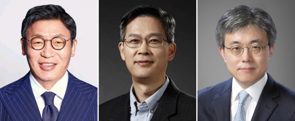 From left, president JaeSeung Lee, head of the home appliance business, president Jung-bae Lee, head of the memory business, and president Siyoung Choi, head of the foundry business. Image: Samsung